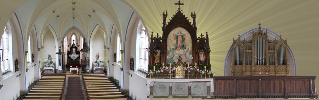Zleva: pohled do hlavní lodě, hlavní oltář, varhany